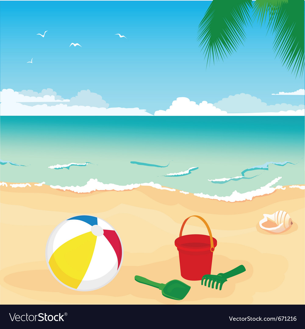beach royalty free vector image vectorstock rh vectorstock com beach vector art free beach vector black and white