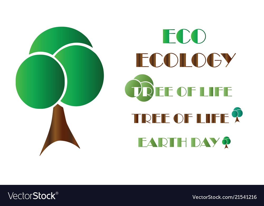 Ecology Logo Tree Earth Day Royalty Free Vector Image