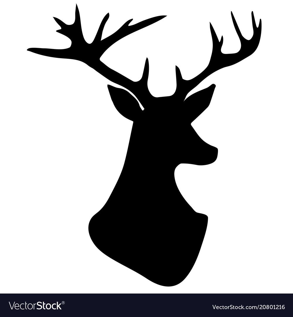 Hand drawn silhouette of head of reindeer vector image