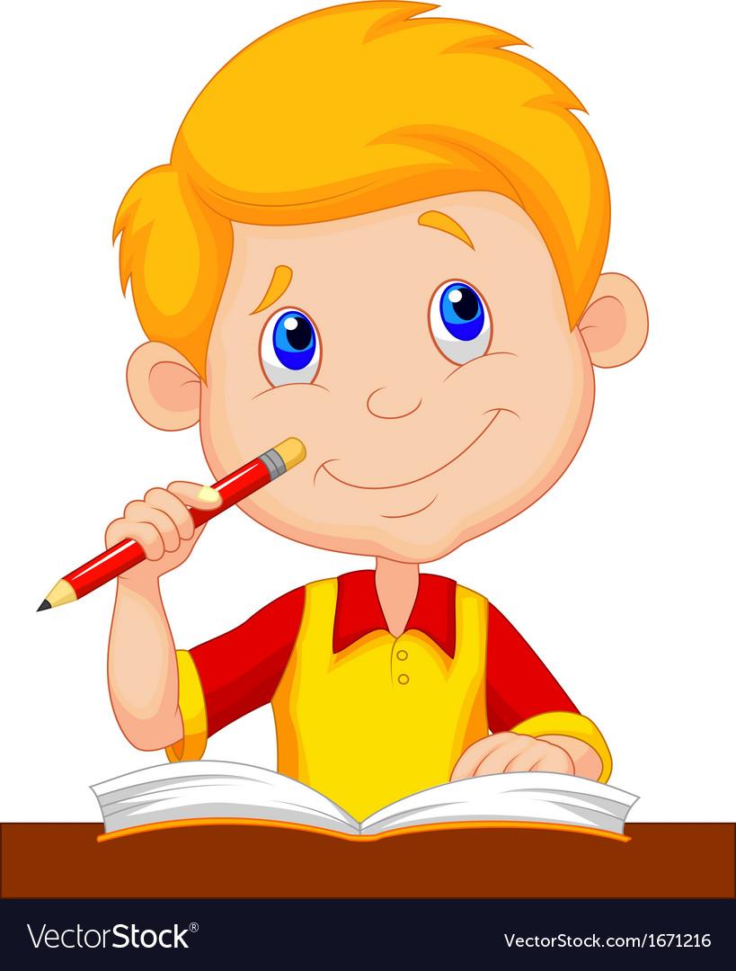 Little boy cartoon studying