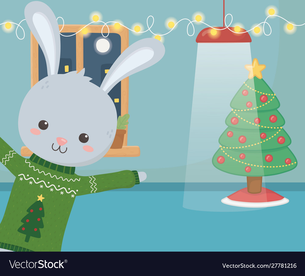 Merry christmas celebration cute rabbit glowing