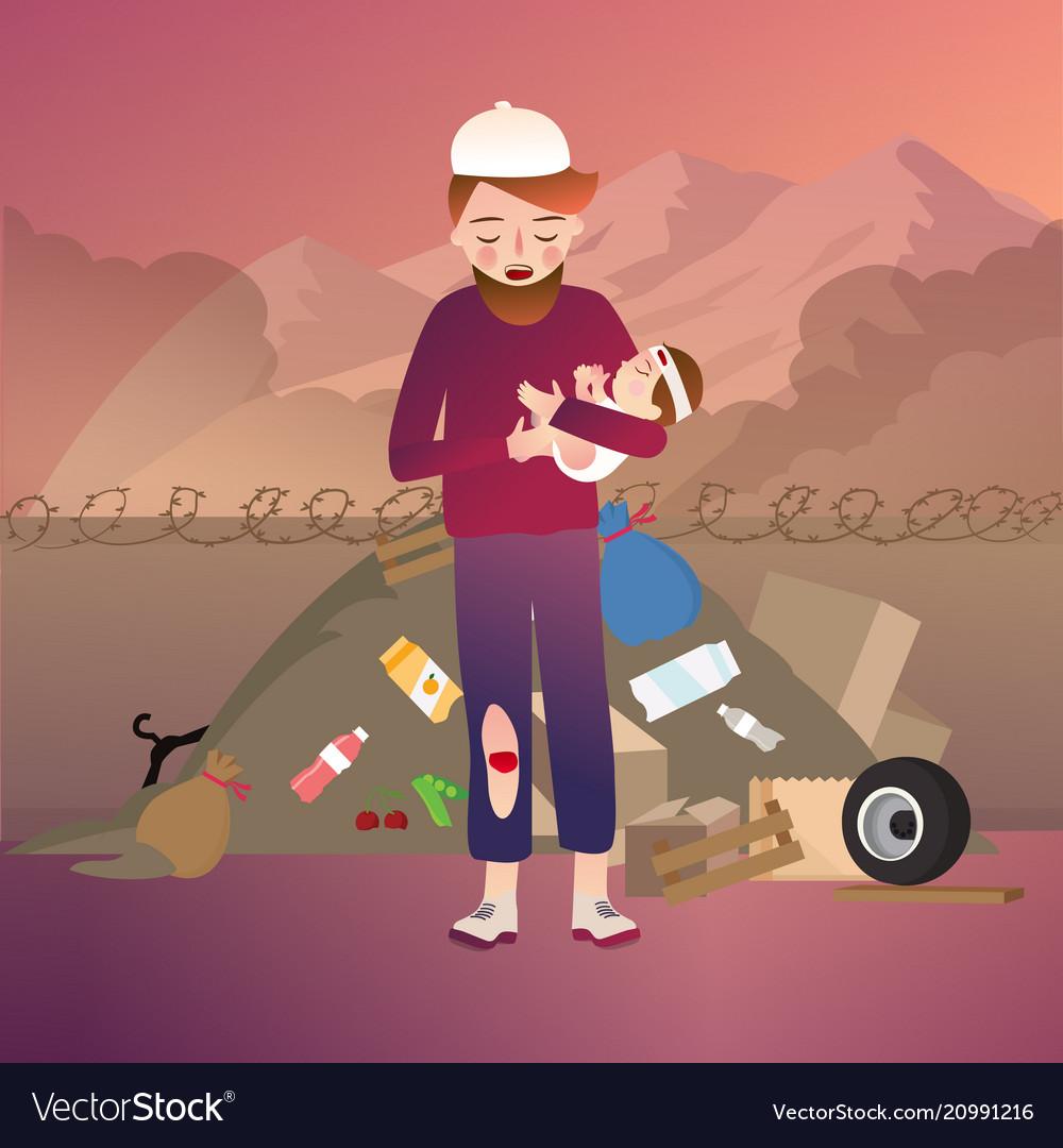 Minorities refugee family baby daughter and