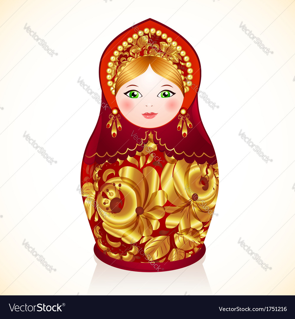 Red and gold colors Russian doll Matryoshka