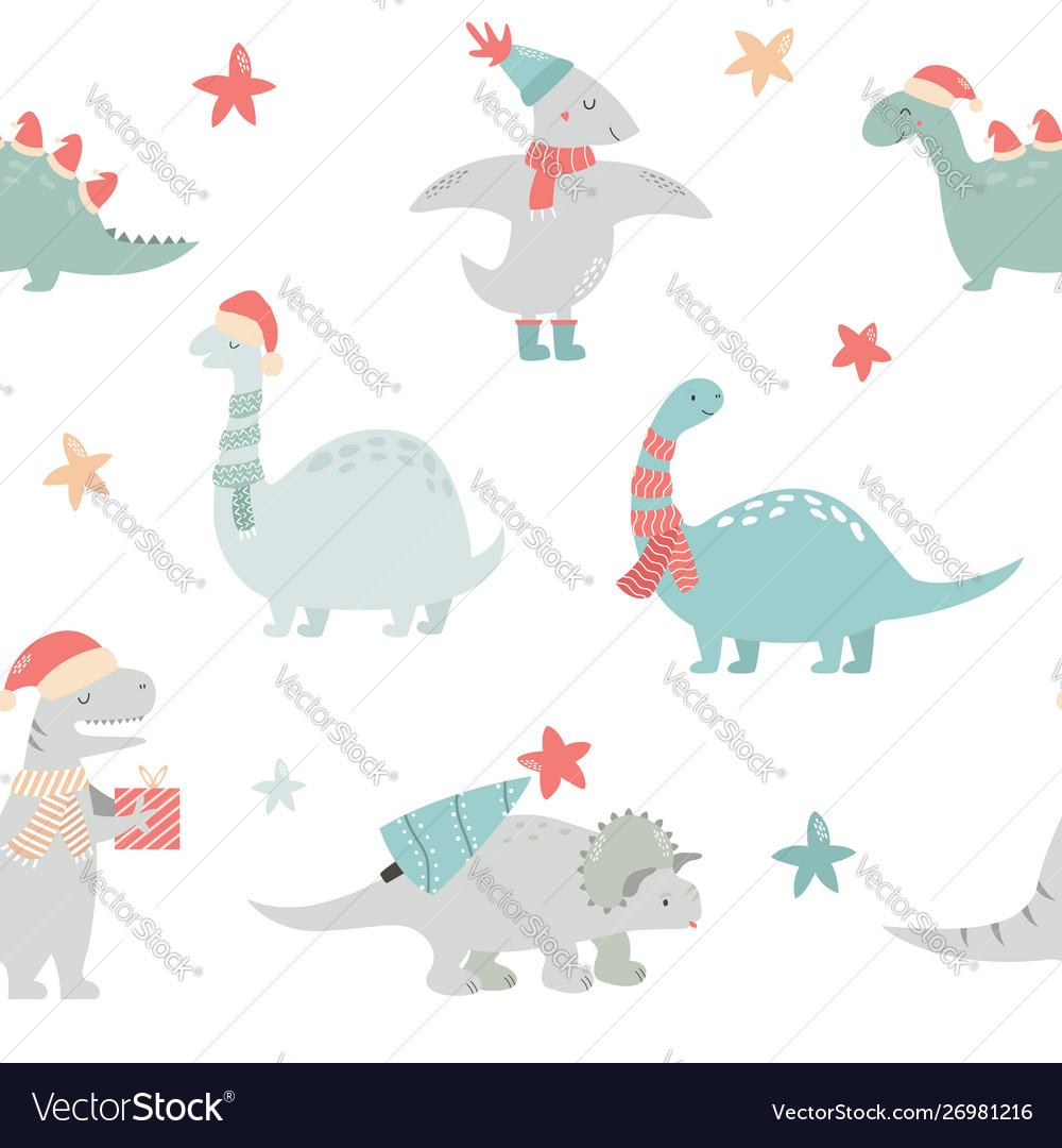Seamlesss pattern with christmas dinos