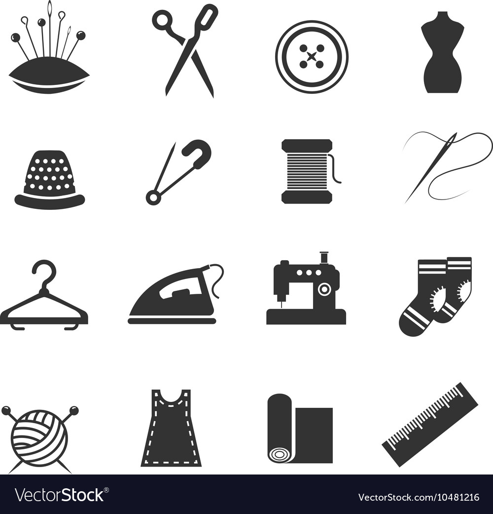 Sewing fashion needlework tailor icons vector image