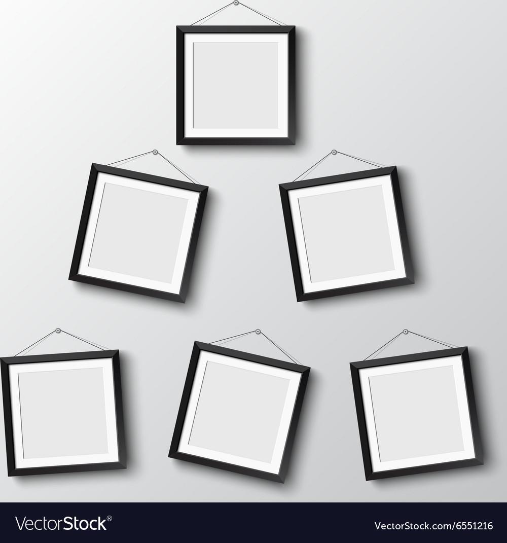 Six frames hang on wall Royalty Free Vector Image