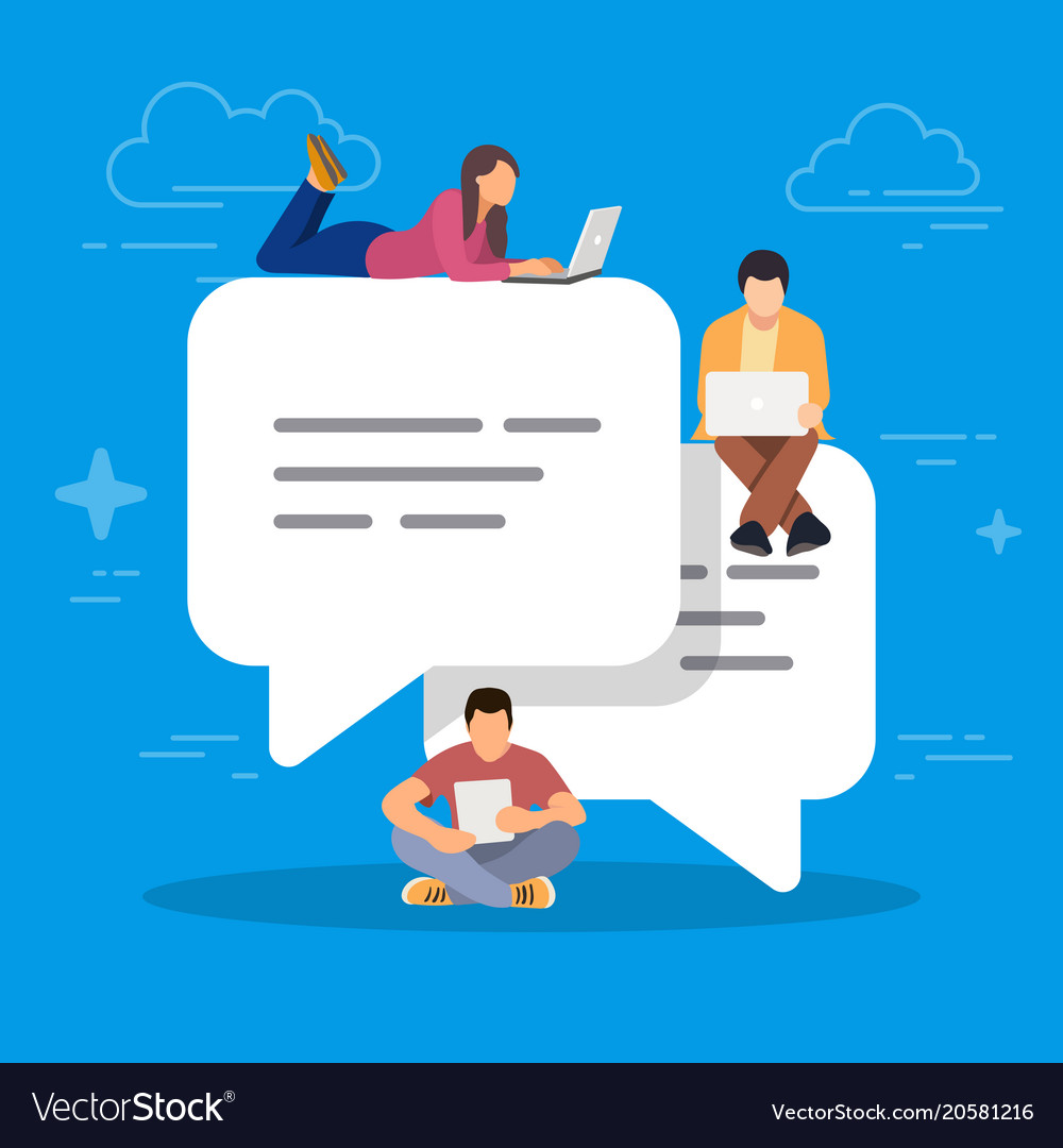 Speech bubbles for comment and reply young people vector image