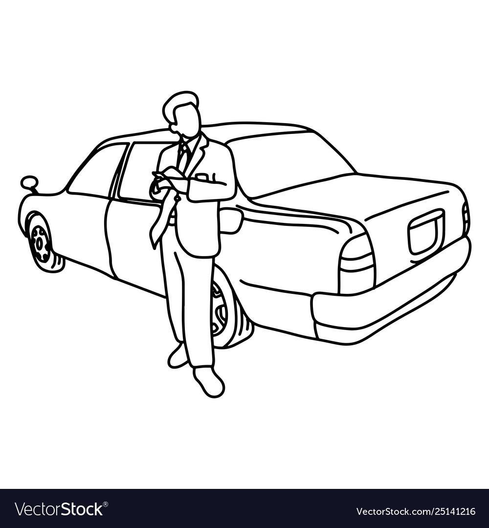 Taxi driver with his car sketch