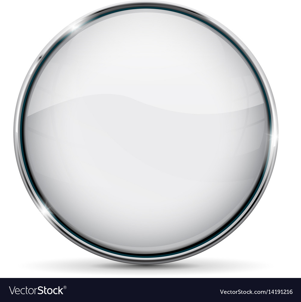 White glass button with chrome frame Royalty Free Vector