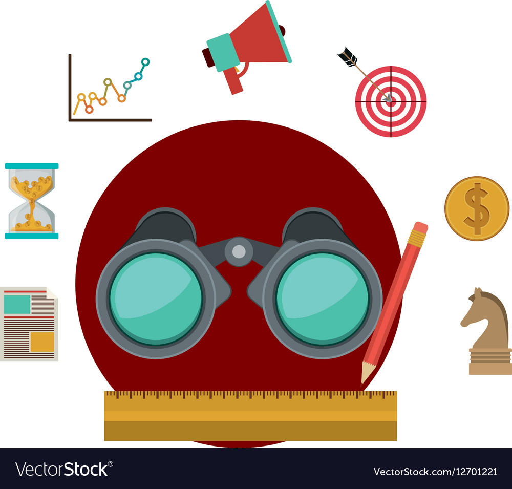 Binocular and social media icon set vector image