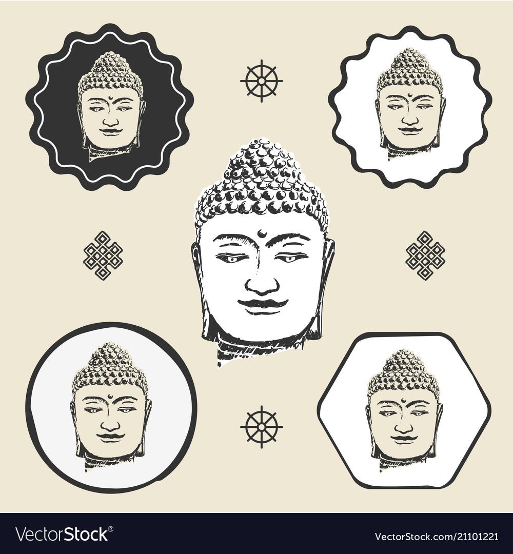 Buddha head buddhism icon flat web sign symbol