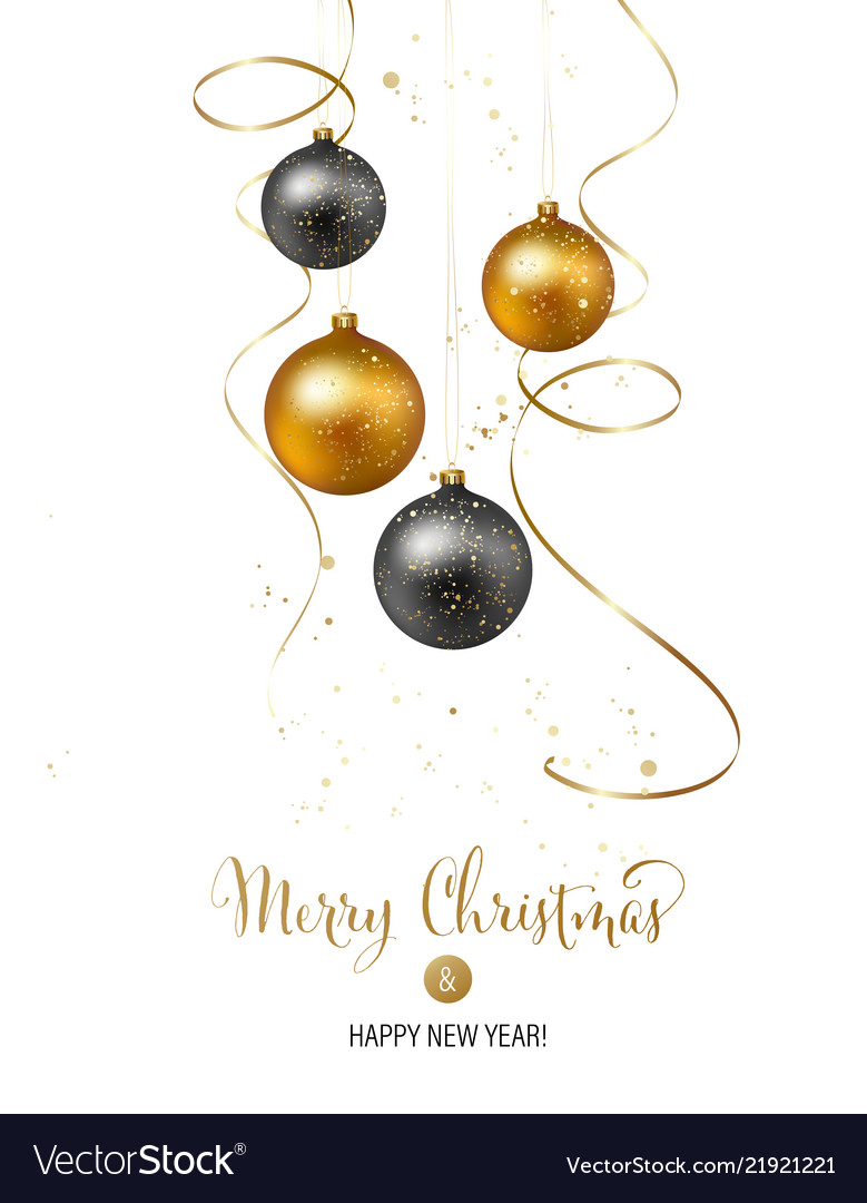 Christmas background with gold baubles and