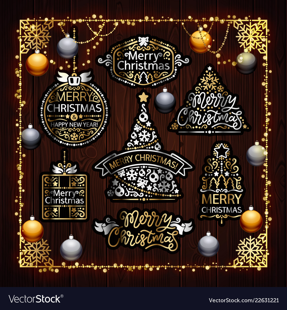 Christmas golden decorations set with colorful