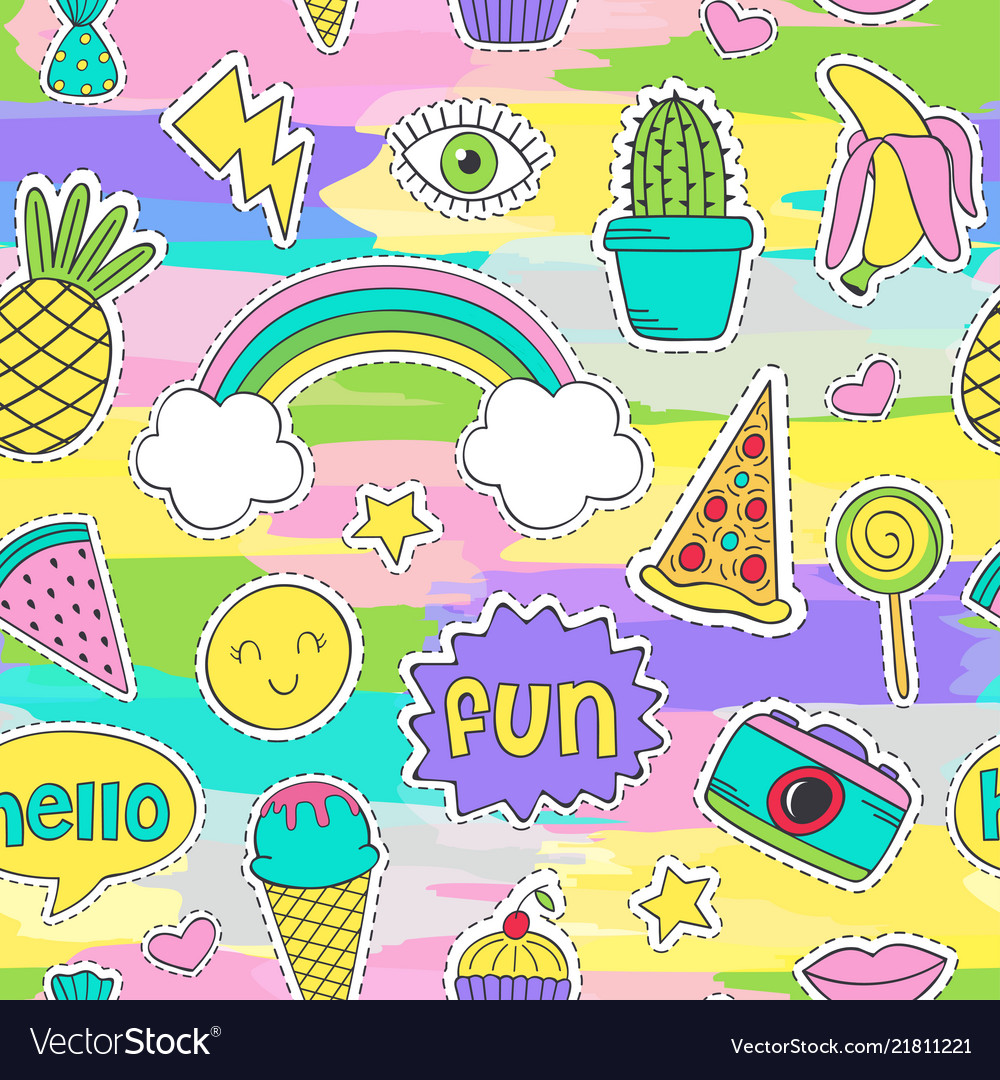 Colorful seamless pattern with funny stickers