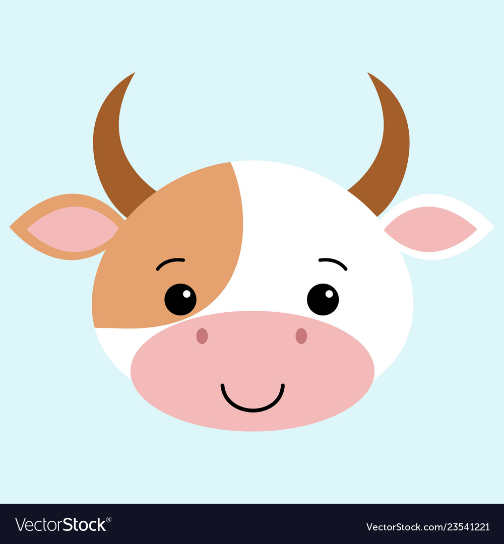 Cow flat cartoon style cute