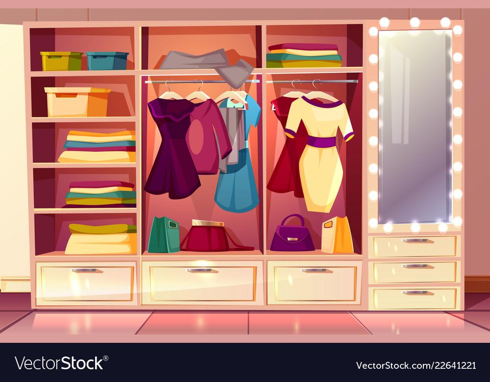 Dressing room with wardrobe illuminated