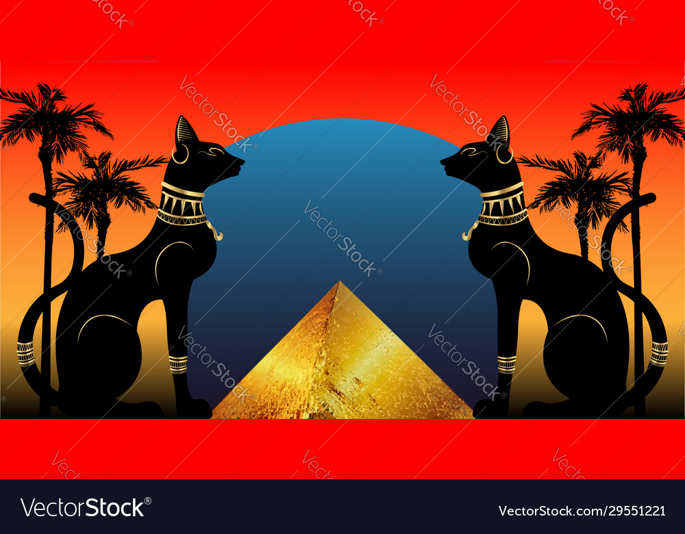 Egyptian cats and antique pyramid bastet ancient