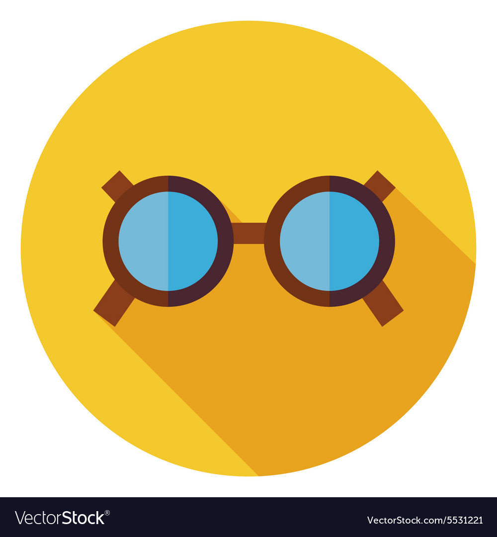 Flat Accessory Glasses Circle Icon with Long vector image
