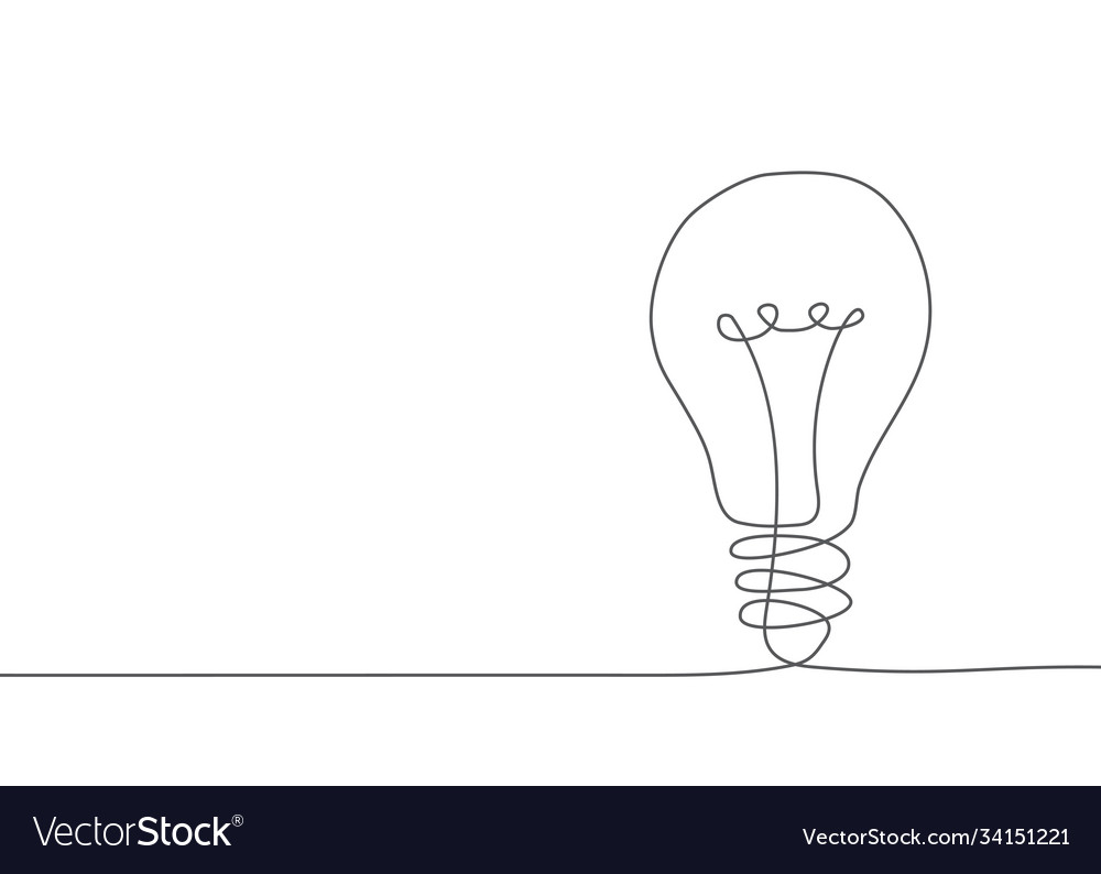 Light bulb one line drawing on white background