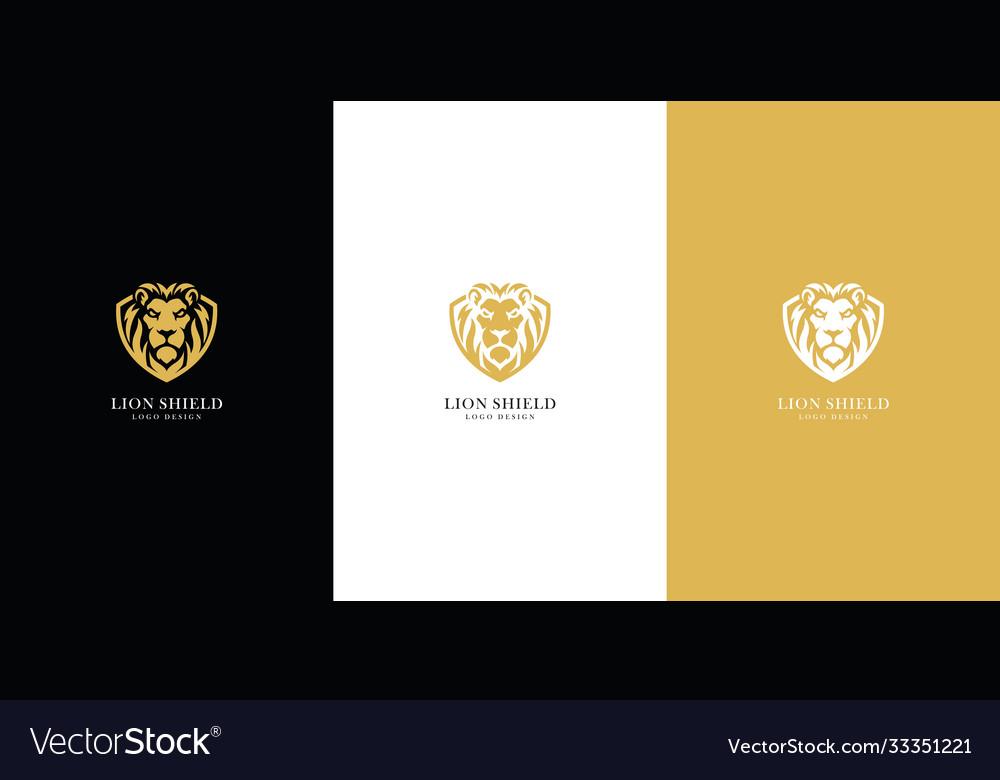 Lion shield logo premium