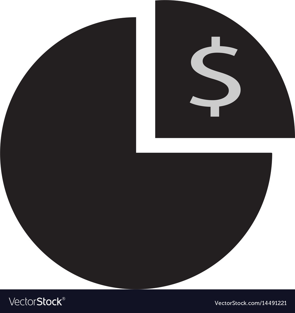 Pie Chart With Dollar Icon On White Background Vector Image
