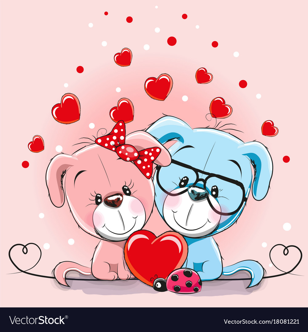 Valentine Card With Lovers Dogs Royalty Free Vector Image