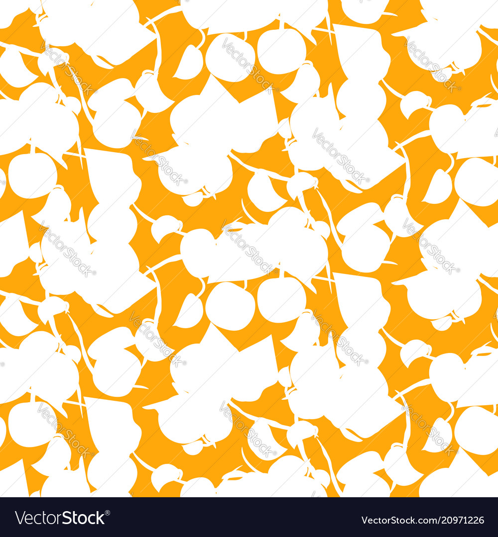 Abstract fruit silhouette orange seamless