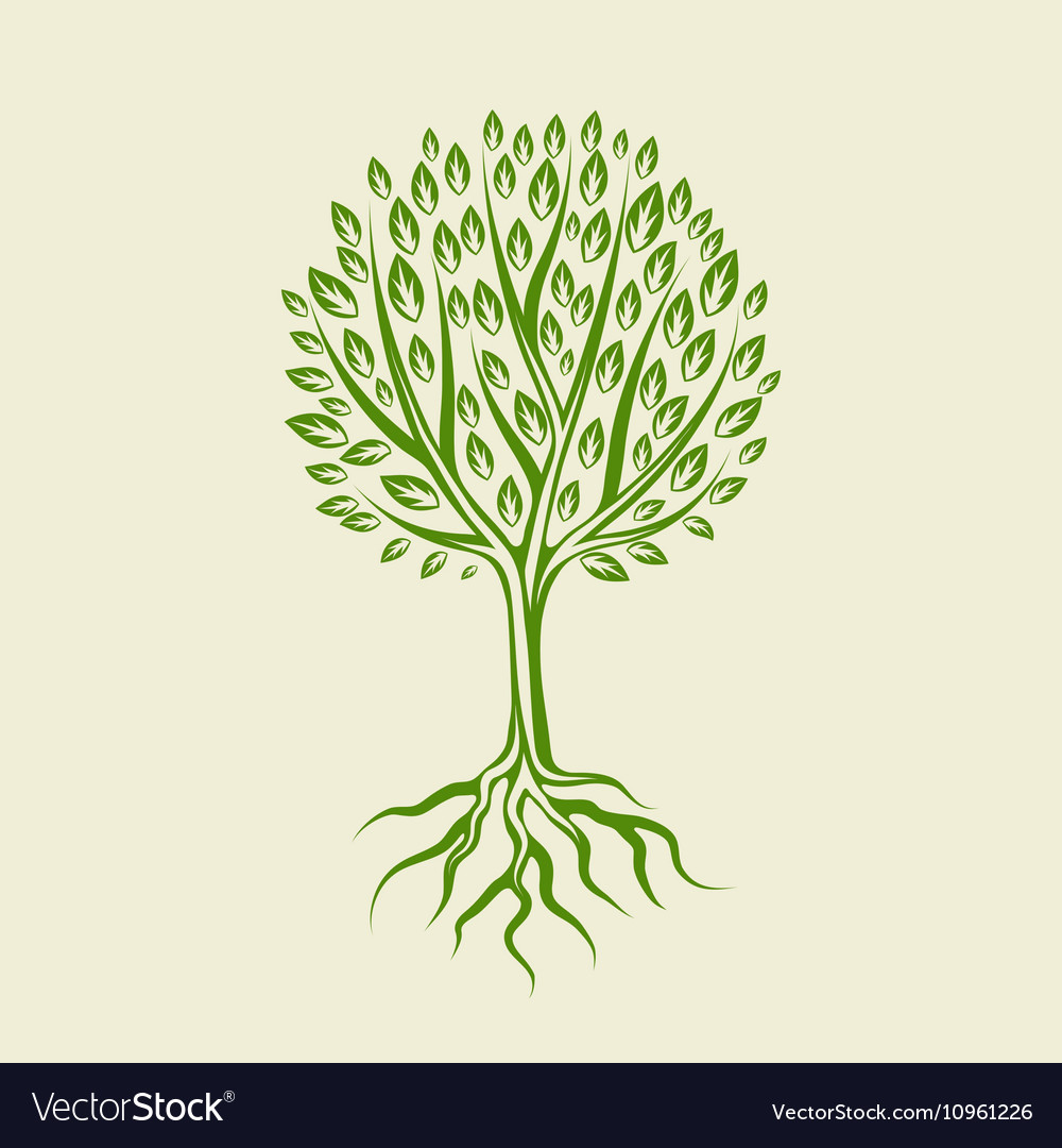 Abstract stylized tree with roots and leaves