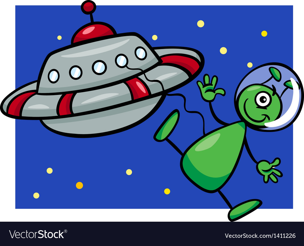 Alien with ufo cartoon vector image