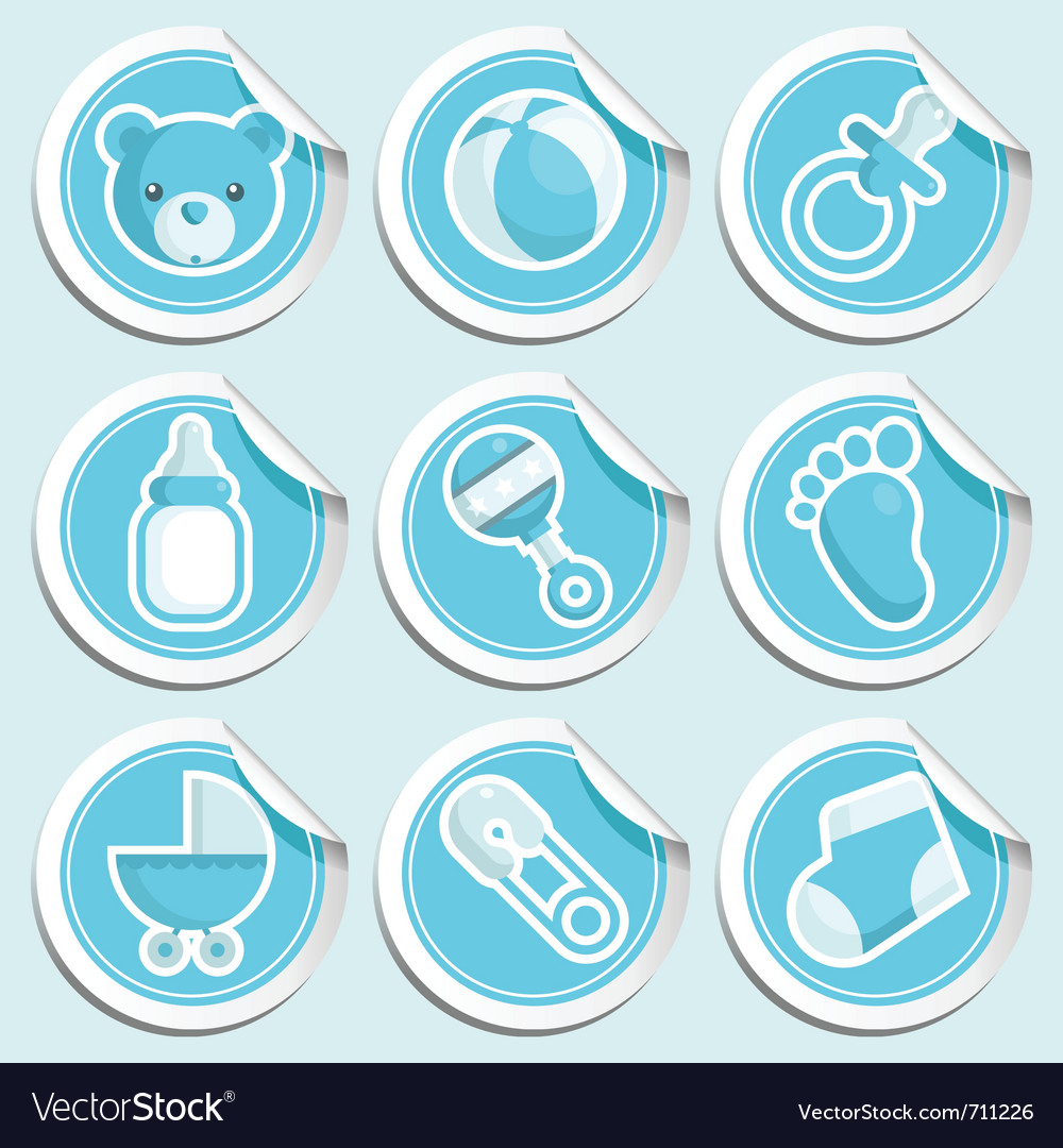 Blue Baby Shower Stickers Vector Image