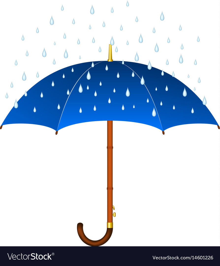 a2c3557bd401f Blue umbrella and rain Royalty Free Vector Image