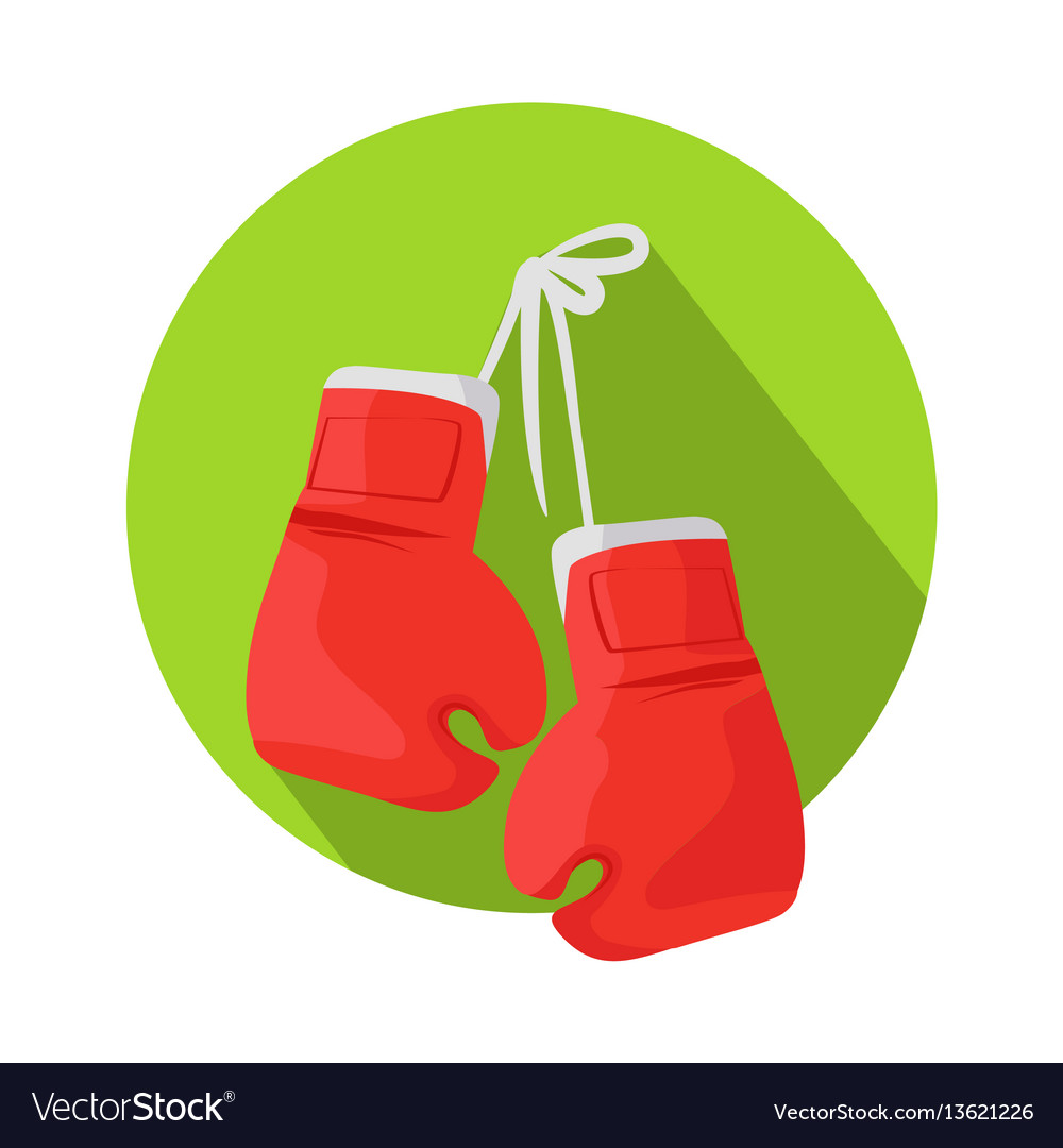 Box icon with classic red boxing gloves vector image