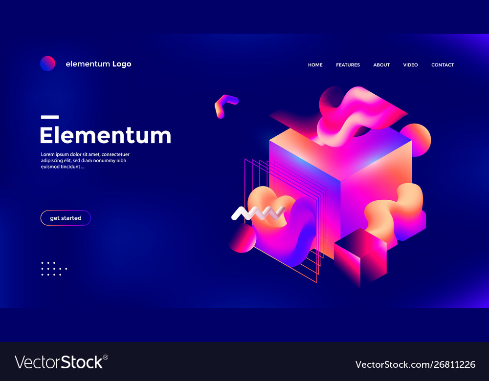Colorful 3d geometric banner with gradient shape