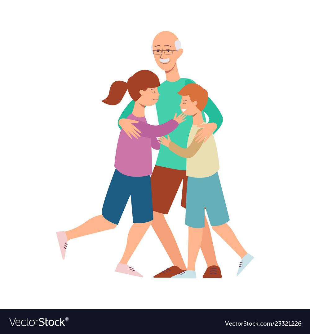 Flat family grandfather hugs girl and boy