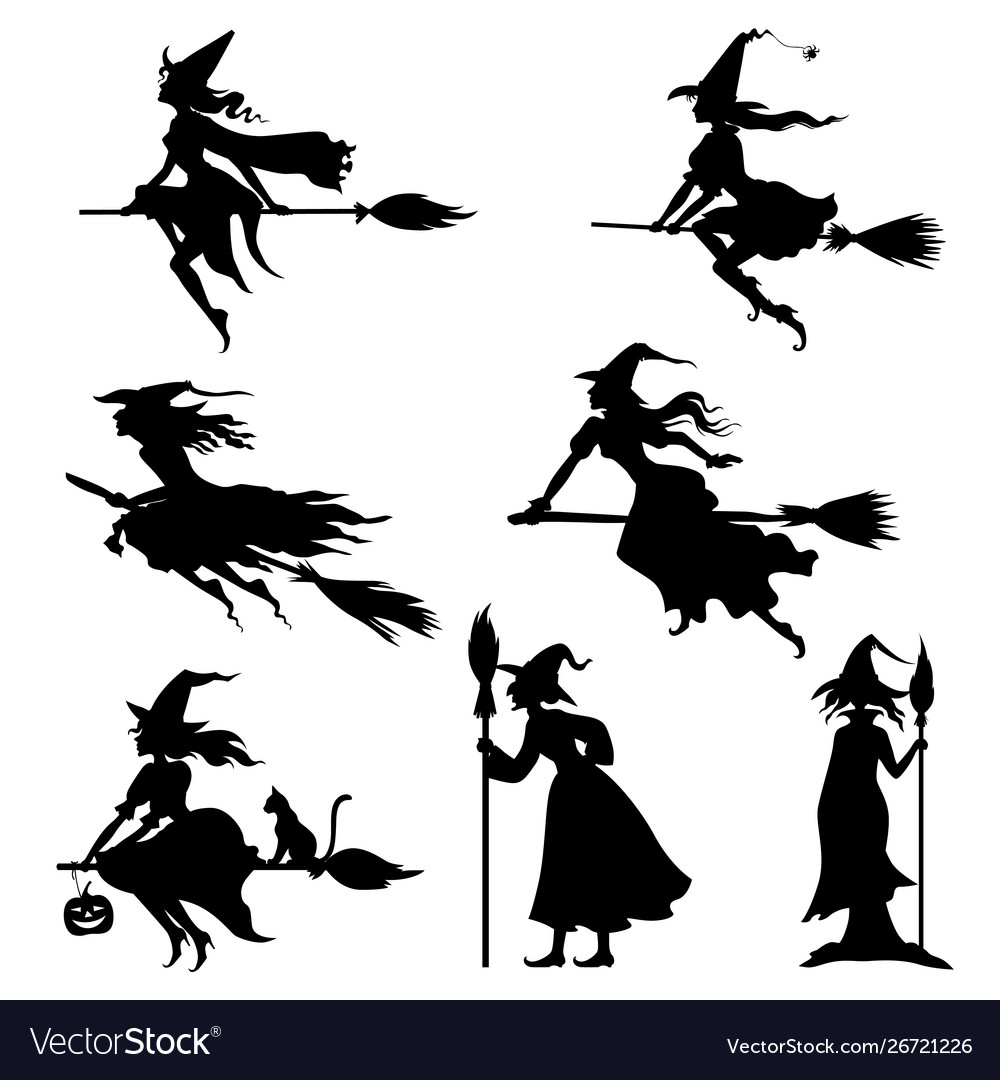 Halloweens witches silhouettes set