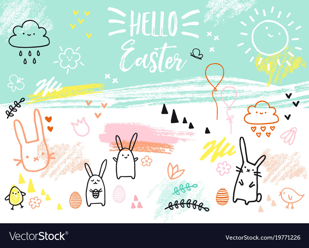 Hand-drawn easter card with bunnies