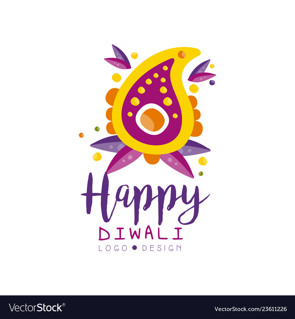 Happy diwali logo design hindu festival of lights