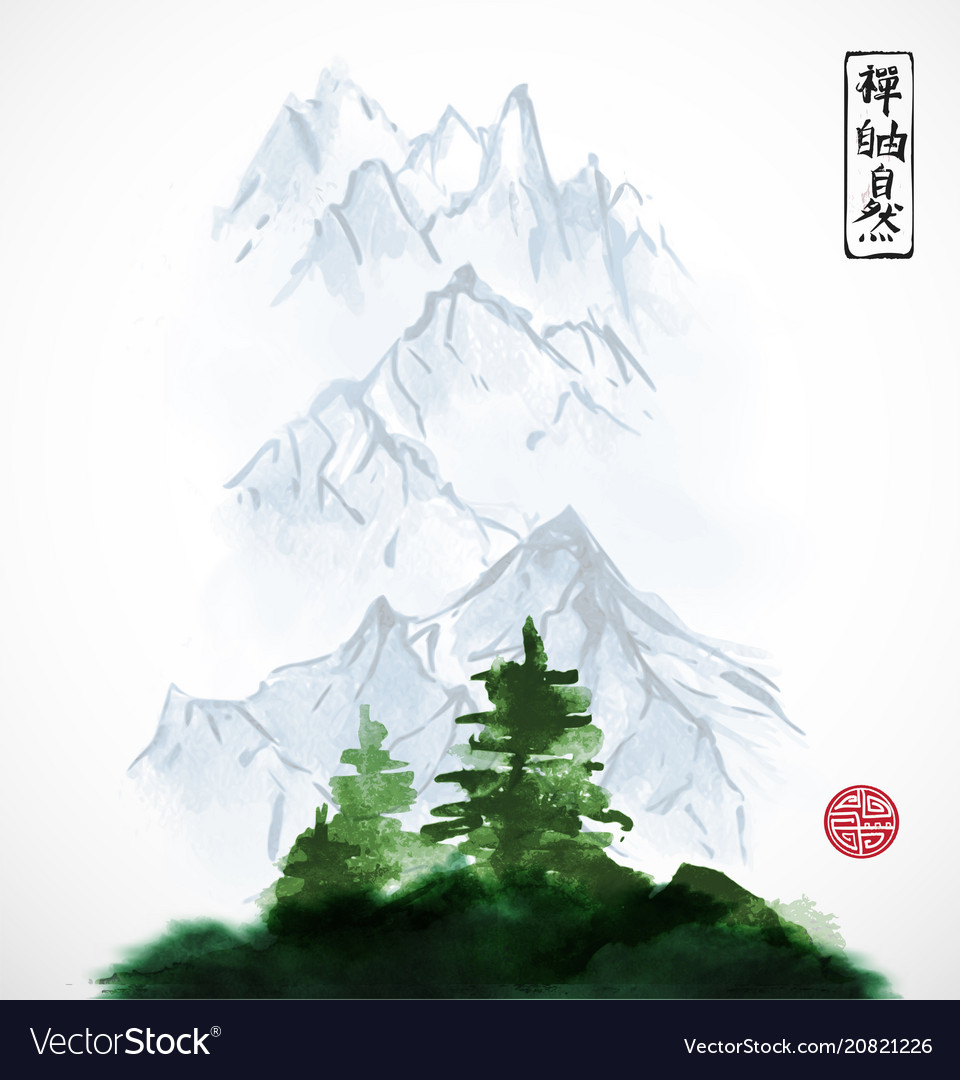 Pine trees and distant mountains traditional
