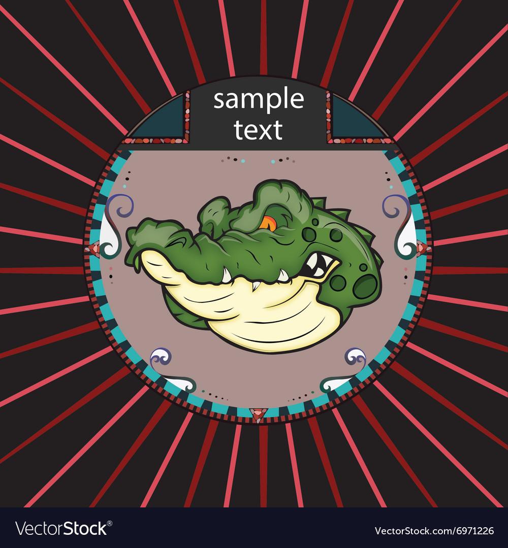 Portrait of alligator in a circle