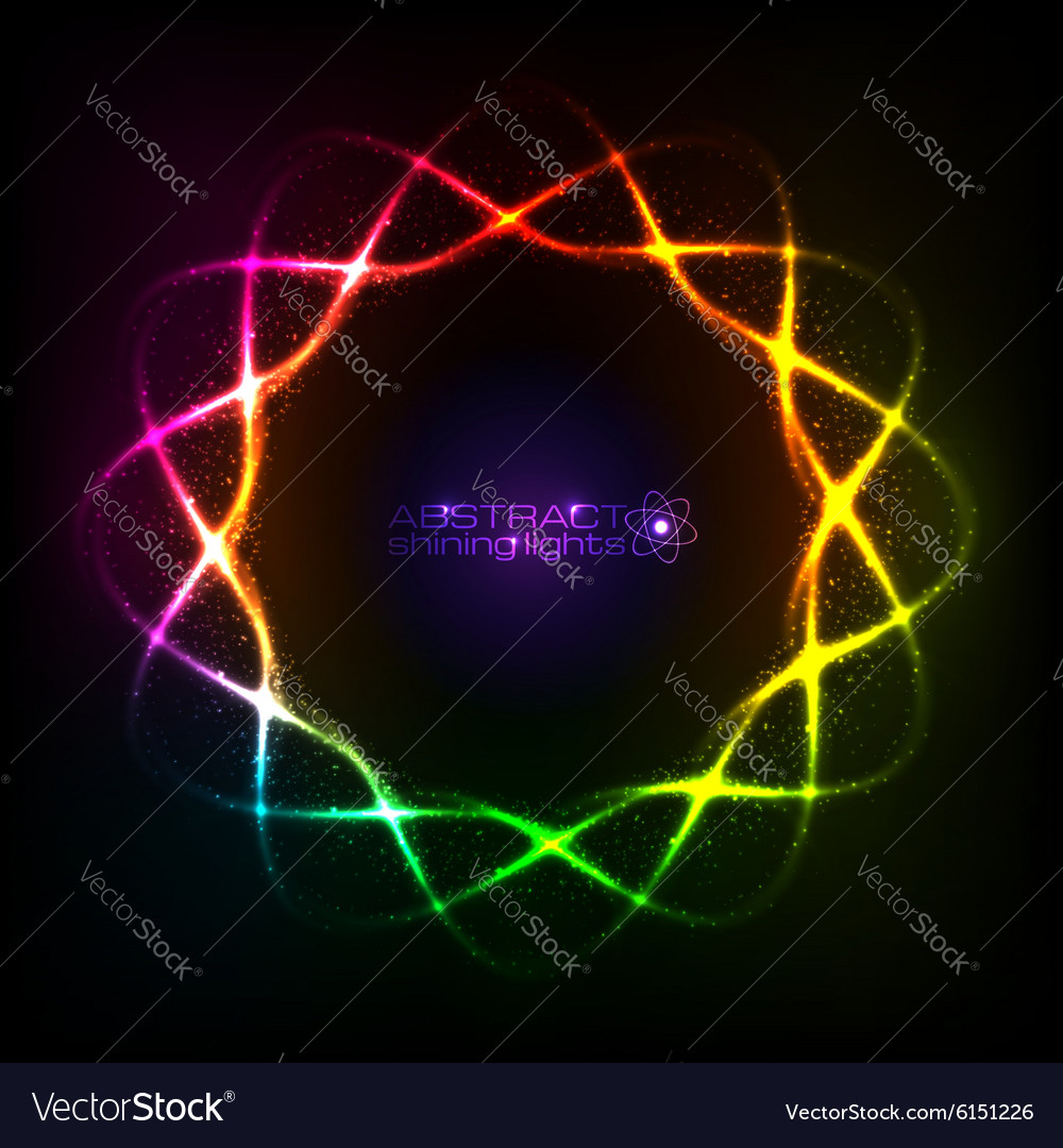 Shining neon rainbow colors spiral cosmic frame