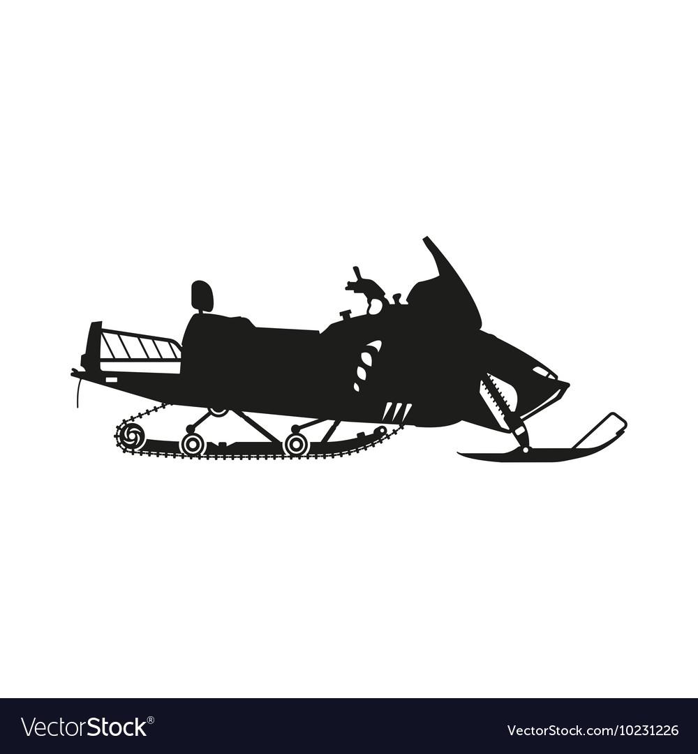 Silhouette of a snowmobile on a white background
