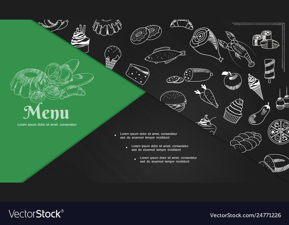 Sketch cafe menu elements composition