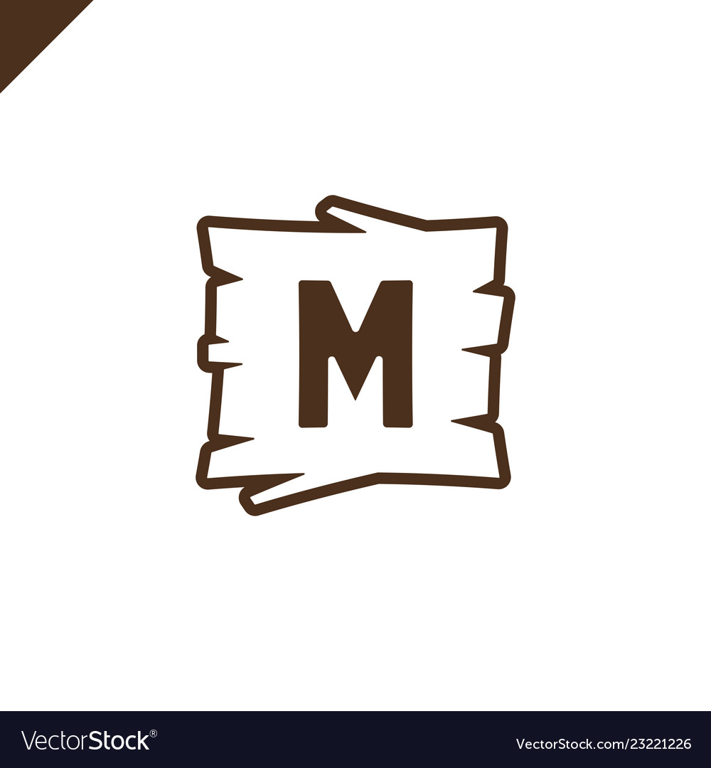 Wooden alphabet or font blocks with letter m