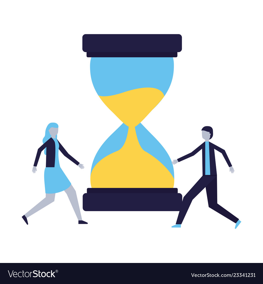 Businessman and woman hourglass time