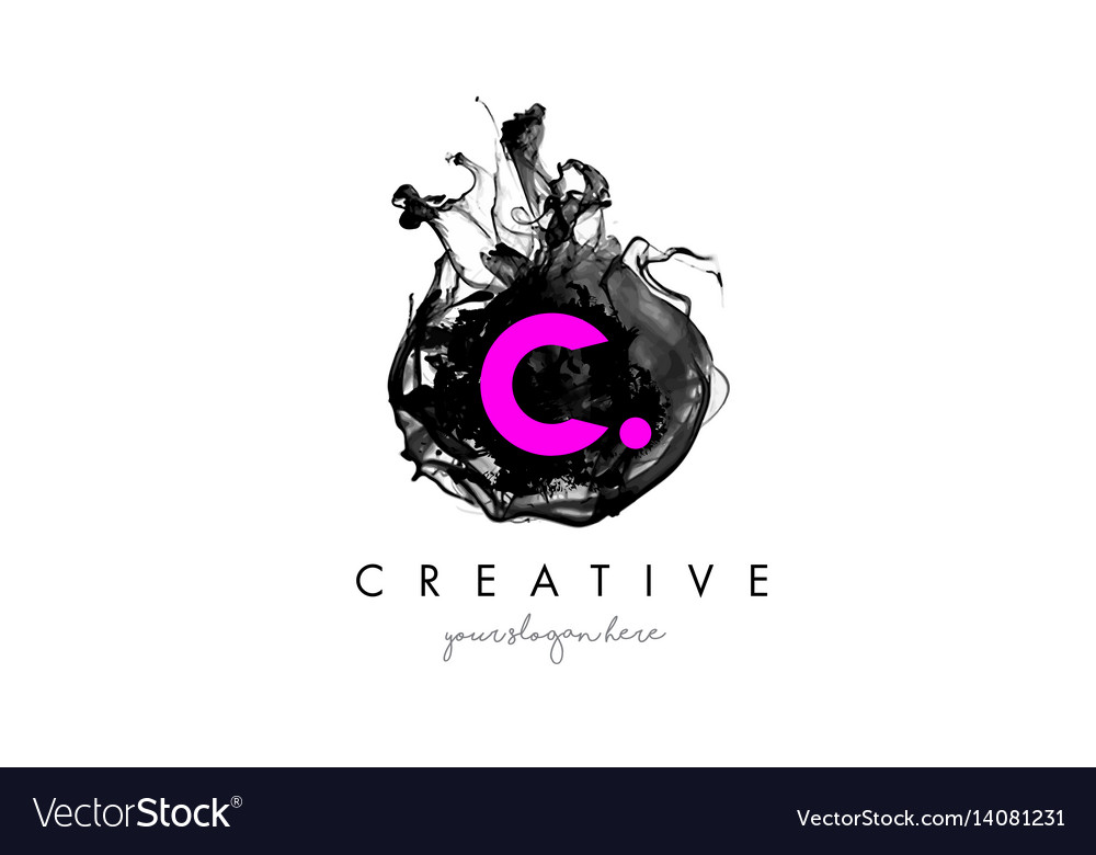 C letter logo design with ink cloud texture vector image