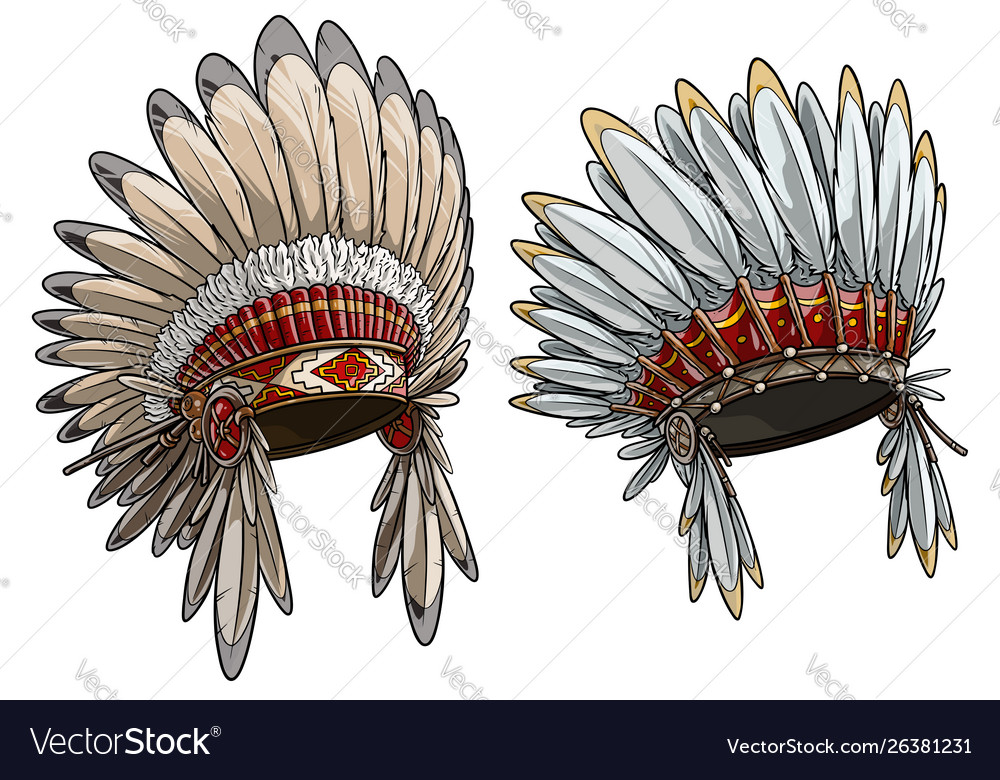 Cartoon native american indian chief headdress set