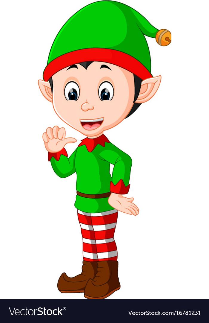 Christmas Images Free Cartoon.Cute Christmas Elf Cartoon Presenting