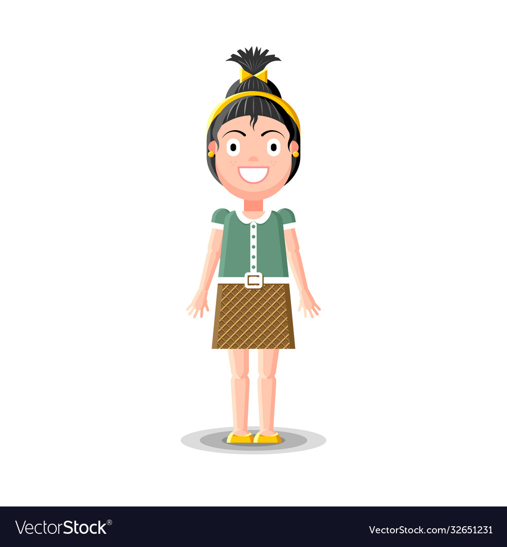 Cute little dark haired girl character in green