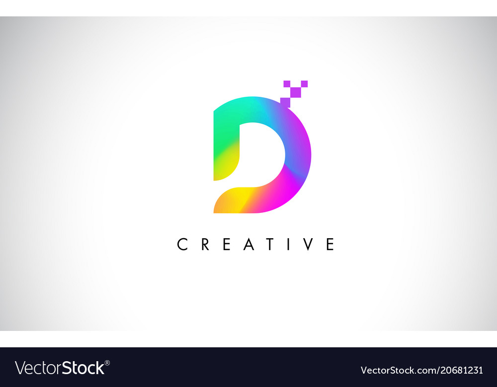 D Colorful Logo Letter Design Creative Rainbow Vector Image