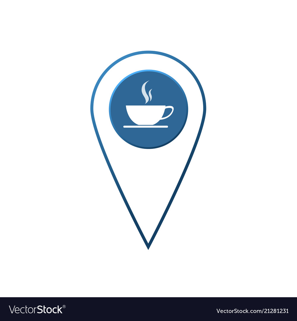 Flat coffee location label designcheck in coffee